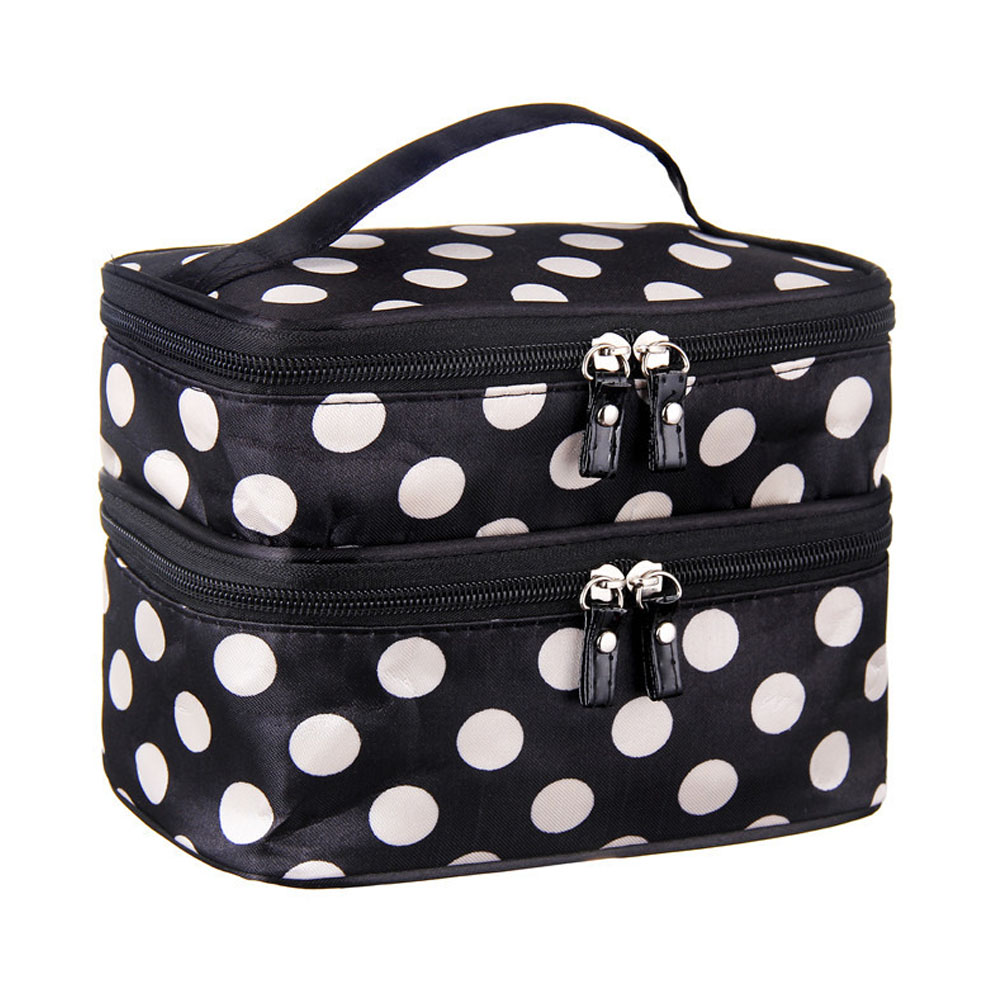 Double Layer of Cosmetic Bag to Receive Bag Dot Handbag Leather Zipper LT88 transer jasmine polka dot flip double zipper cosmetic bag 0213 drop shipping