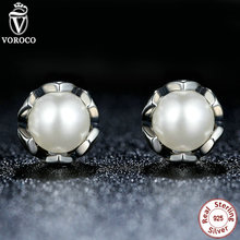 Classic 100% 925 Sterling Silver Cultured Magnificence Stud Earrings With White Freshwater Pearl Appropriate with Pan Present S420