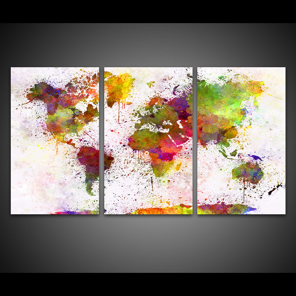 Us 8 5 Home Decor Canvas Prints Abstract Pictures 3 Pieces Color World Map Paintings For Living Room Wall Art Modular Posters Framework In Painting