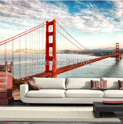 Free shipping the golden gate bridge scenery city large murals The sitting room sofa bedroom TV background wall paper new kagerou project mekaku city actors takane enomoto ene cosplay wig tv vresion free shipping