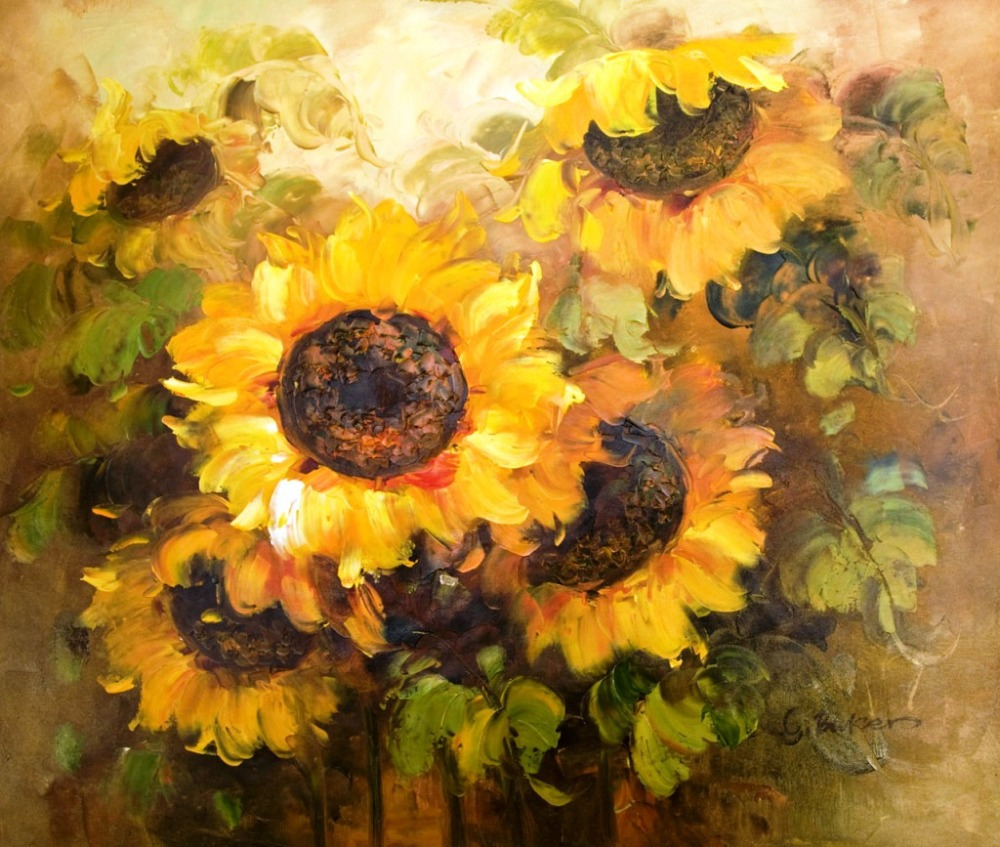 Beautiful Sunflowers Oil Painting Hot Sell Modern Canvas Pictures