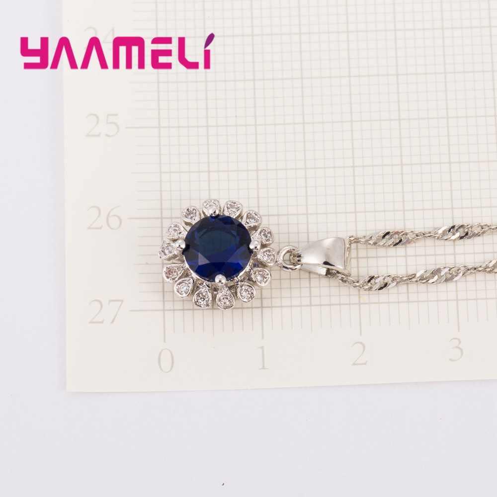 Top Qualität Frauen Hochzeit Braut Schmuck Sets Geschenk 925 Sterling Silber Sunflower Cubic Zirkon Kristall Ohrringe Halskette Ringe