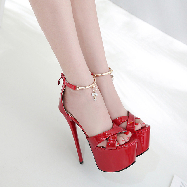 d196b48d0ad6a Shoes woman stiletto high heels fashion platform sandals Red shoes shiny rhinestone  gladiator sandals black women s summer footw. Rated 5.0 5 ...
