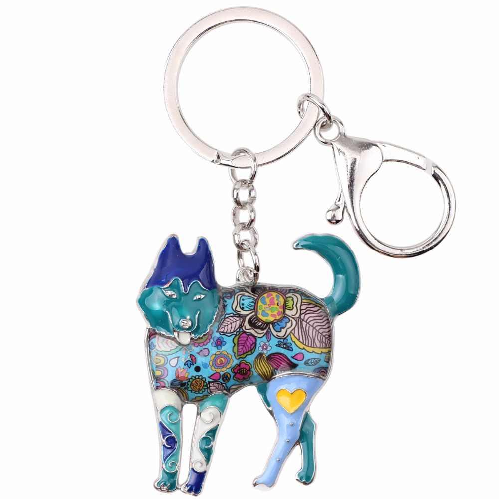 Bonsny metal siberiano husky cão chaveiro chaveiro saco pingente titular da chave do carro 2017 novo esmalte chaveiro jóias para mulher bijoux