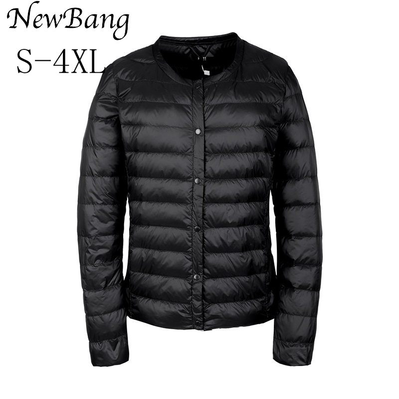 NewBang Portable Down Jacket Women Ultra Light Down Jacket Slim Thin Collar-less Feather Jackets Women Warm Windproof Coat