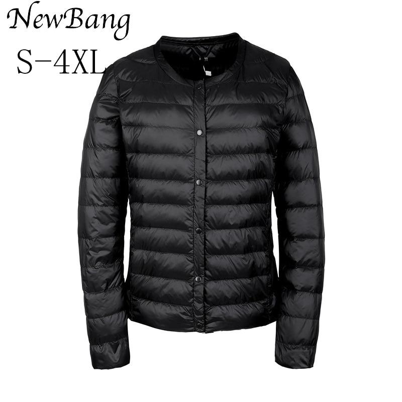 NewBang Portable Down Jacket Women Ultra Light Down Jacket Slim Thin Collar-less Feather Jackets Women Warm Windproof Coat