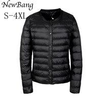 NewBang Portable Down Jacket Women Ultra Light Down Jacket Slim Thin Collar less Feather Jackets Women Warm Windproof Coat