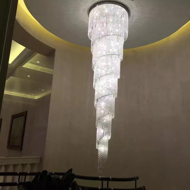 Modern spiral crystal chandelier light fixture long lustres de modern spiral crystal chandelier light fixture long lustres de cristal for hotel staircase crystal lamp living aloadofball