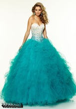 New Arrival Sweetheart Crystals Beaded Ruffle Long Tulle Turquoise Quinceanera Dresses Ball Gown 2015 Party Dress