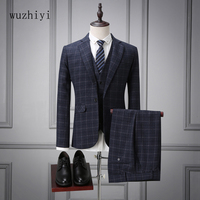 wuzhiyi 3 Pieces men suti Wedding Suit Man Custom made mens suits wedding groom costume homme mariage 2017 plus size Suit men
