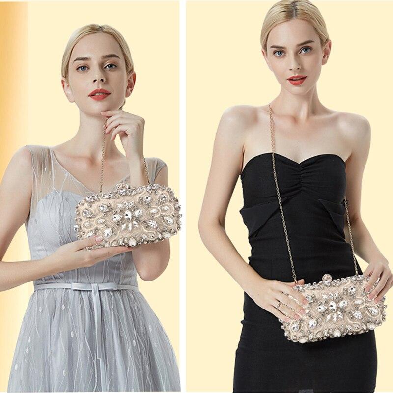 Image 4 - Wedding Clutch Womens Clutch Bag Party Purse and Handbag Pearl  Clutch Luxury Handbags Women Bags Designer Apricot Wallet  bolsaTop-Handle Bags