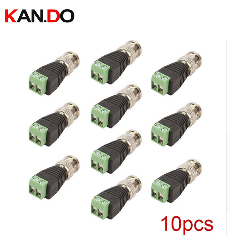 10Pcs Coaxial CAT5 6 To BNC Camera CCTV TV Video Balun Cable Connector