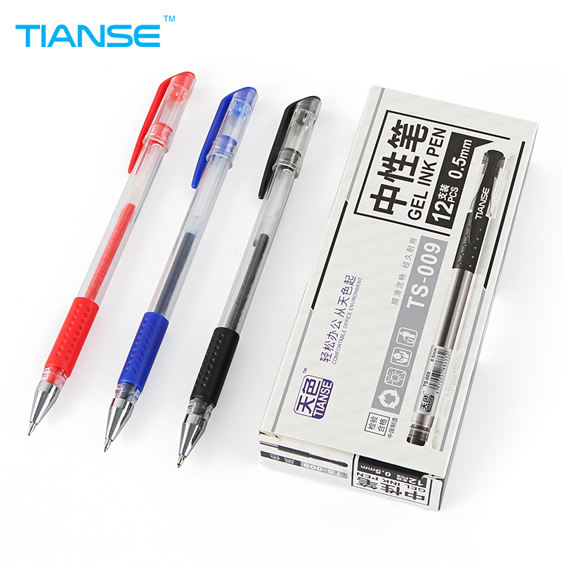 TIANSE 12pcs 0.5mm bullet Gel Pen black blue red color ink neutral pen for marker writing signing good school office stationery mini pocket quality office writing gel ink pen school supplies stationery 0 5mm blue black ink 4 colors pink white blue gray