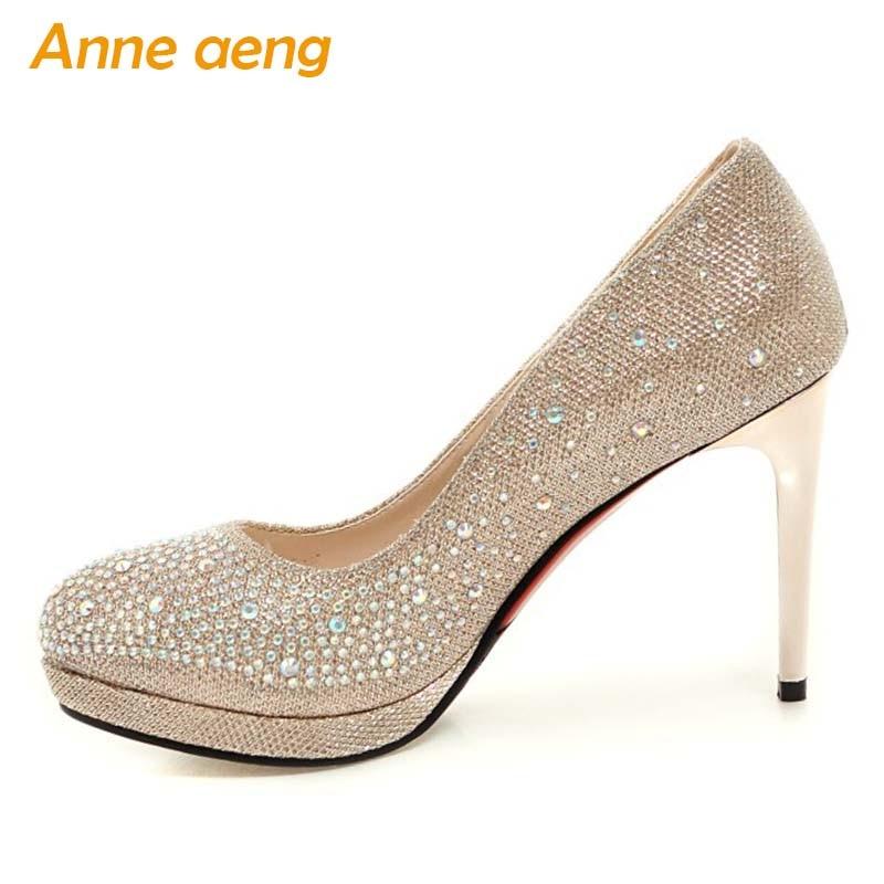 Women shoes high thin heel Bling pumps platform gold silver Wedding Bridal shoes classic elegant round