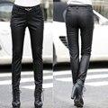 2016 Autumn winter pants women Genuine leather black colour pantalon femme Thin slim pencil pants trousers women leather pants