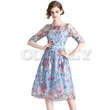 Cuerly 2019 High Quality Luxury Runway Womens Mesh Embroidery Dresses Summer Half sleeve Dress Vestidos