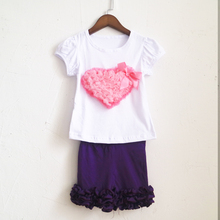 witch purple short capris and puff sleeve shirt-sleeved tee fashion children ruched summer sets summer outfit dress