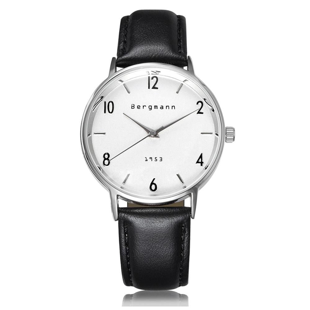 Buy Brand Bergmann Bauhaus Style Vintage White Men Women Watches Classic