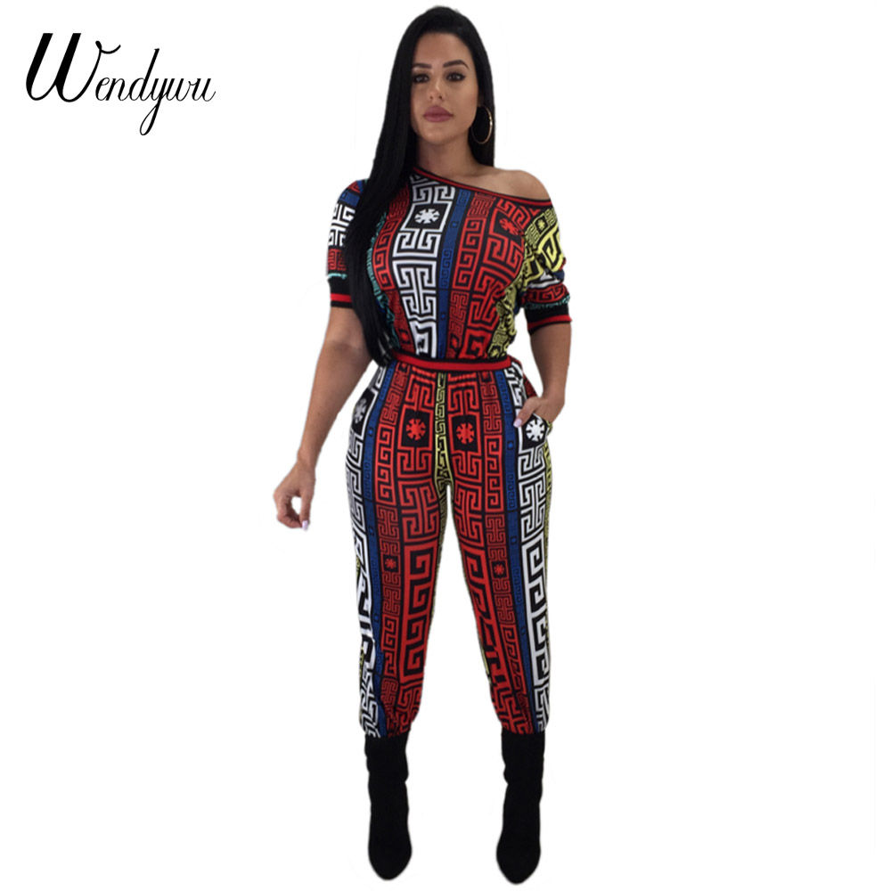 Wendywu 2018 Summer Dashiki Print Rompes Women African Vintage Bodycon Sexy Jumpsuit Casual Tracksuit WD20843 ...