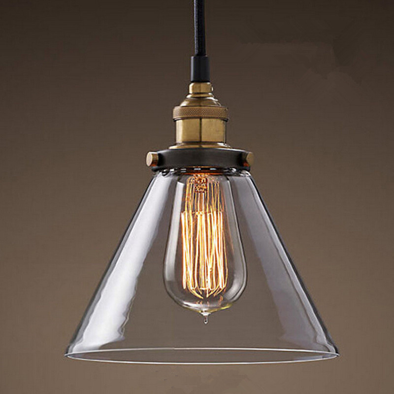 Retro vintage glass pendant light indoor hanging lighting American ...