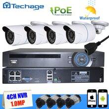 Techage 4CH POE NVR 1080 P PoE ВИДЕОНАБЛЮДЕНИЯ Система 4 ШТ. 720 P 1MP IP66 Водонепроницаемая Камера IP P2P ИК Ночного Видения Видеонаблюдения Комплект