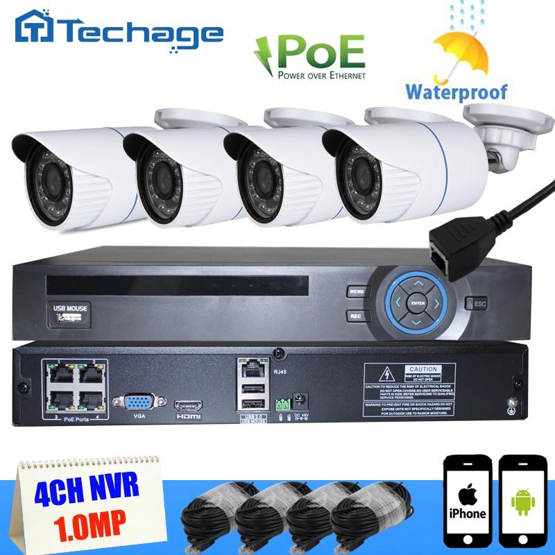 Techage 4CH POE NVR Kit 1080P CCTV PoE NVR 4PCS 1500TVL 1 0MP IP66 720P P2P