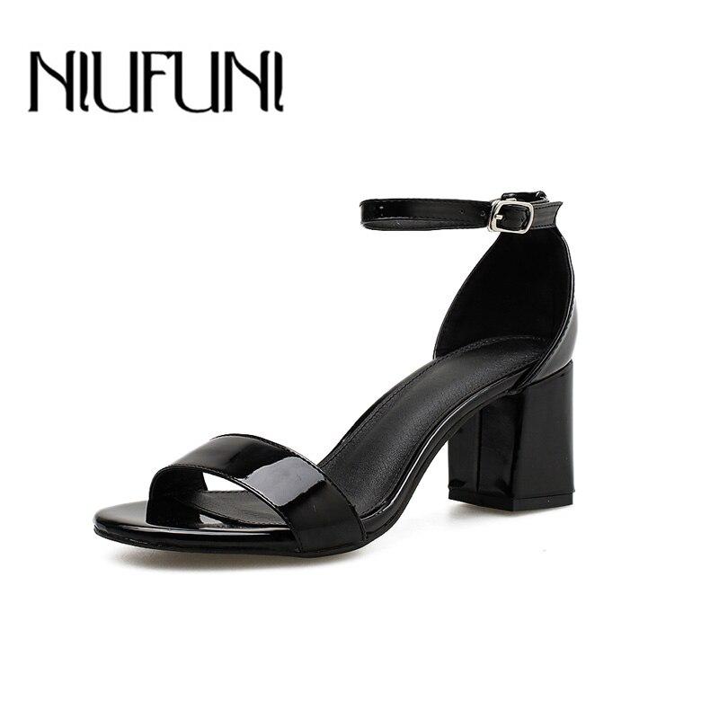 7ddaf960c4e NIUFUNI Women's Comfort Mid Heel Sandal One Band Open Toe Ankle ...