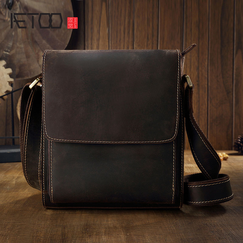 AETOO Original crazy horseskin leather men s bag shoulder Messenger bag leather men s simple business