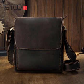AETOO  Original crazy horseskin leather men's bag shoulder Messenger bag leather men's simple business leisure British fashion - DISCOUNT ITEM  50% OFF All Category