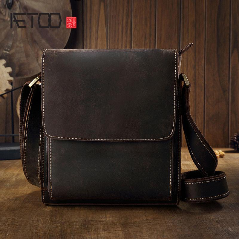 AETOO oryginalny crazy horseskin skóry torba męska torba na ramię skórzana dla mężczyzn proste biznes rozrywka brytyjska moda w Torby z uchwytem od Bagaże i torby na  Grupa 1
