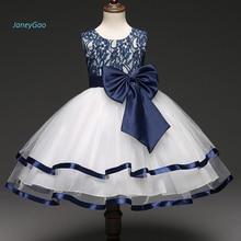 JaneyGao/Новое поступление года; Платья с цветочным узором для девочек с бантом; синие вечерние платья для маленьких девочек; милое элегантное торжественное летнее платье