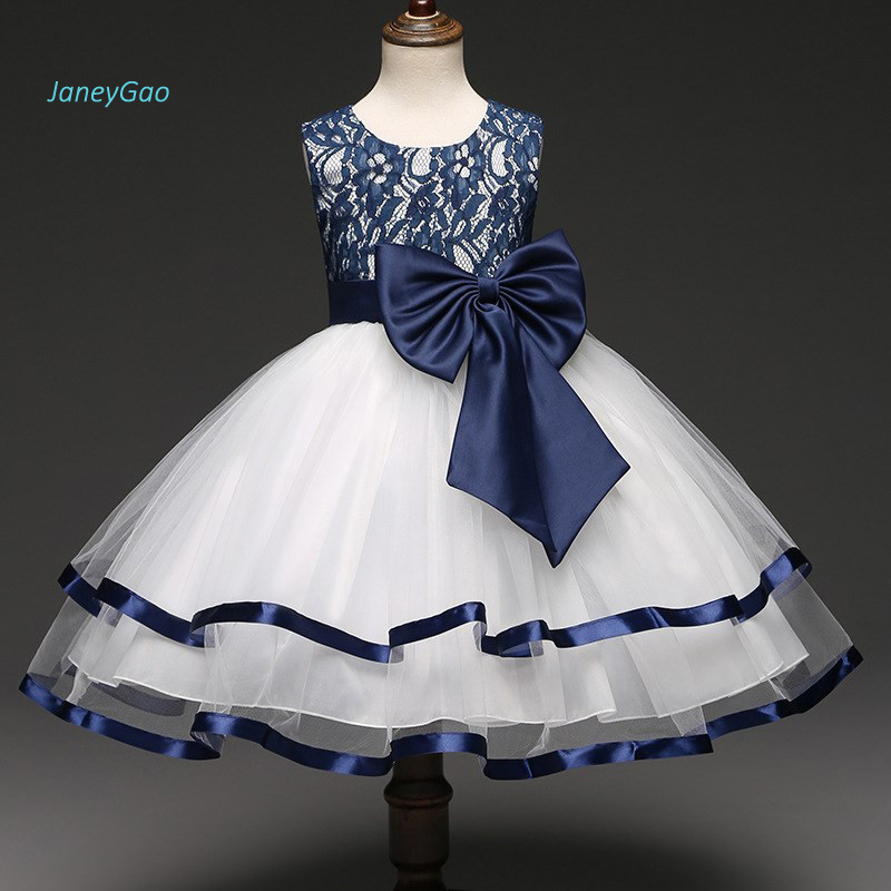 JaneyGao 2019 New Arrival Flower Girl Dresses With Bow Blue Party Dress For Little Girl Pretty Elegant Formal Summer Gown