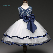 JaneyGao 2019 New Arrival Flower Girl Dresses With Bow Blue Party Dress For Little Pretty Elegant Formal Summer Gown
