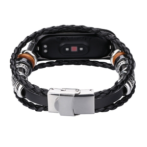 Image 2 - OLLIVAN pulsera de piel auténtica para Xiaomi Mi Band 4, 3 capas, negra, plateada, estilo Punk, correa de acero, cierre de joyería de nailon para hombre