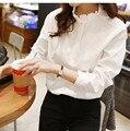 2016 New Style Autumn Women Chiffon Blouse White All match Long Sleeved Medium Fit Casual Shirt female clothing Roupa Feminina