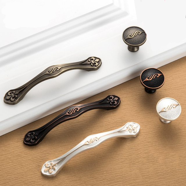 5pcs Antique Door Handles Vintage Drawer Pulls European Kitchen