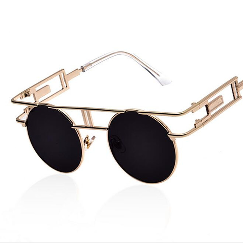 2019 Marco de metal Gafas de sol Steampunk Mujeres Diseñador de la marca Hombres únicos Góticos Gafas de sol Vintage Gafas de sol Feminino 8 Color
