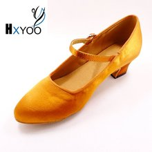 2017 New Arrived Ballroom Dance Shoes Women Latin Salsa Shoes Soft Sole Brown Satin Comfort WK036