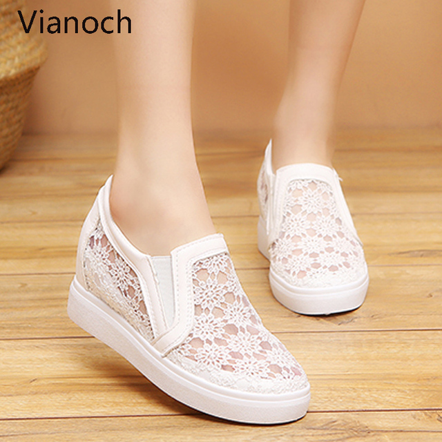 2019 New Fashion Womens Shoes Casual Wedges Mesh Shoe Slip On Lady aa0773 2