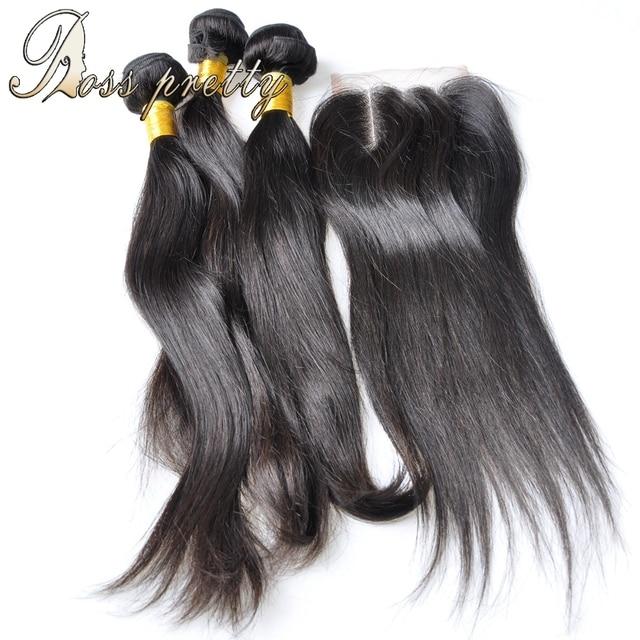 Бразильский Девственные Волосы с Закрытием 7А Бразильский Прямо с Закрытием Бразильские Девы Волос 3 Bundle с Кружевом Закрытие
