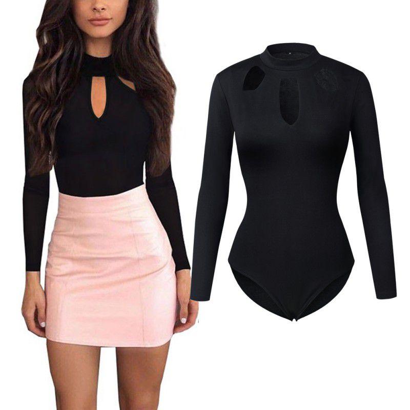 Elegant Bodysuits Women Body Suits for Women Sexy Romper Black Hollow neck Long Sleeve Bodysuit Female Black