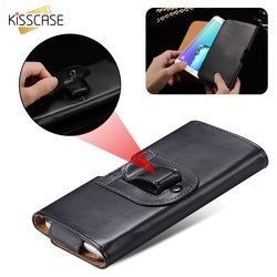 KISSCASE Clip Ceinture Étui Universel En Cuir Taille Sac Pour iPhone X XR XS Max 6 7 8 Plus 5 5S SE Pour Samsung S6 S7 Bord Note 4 5