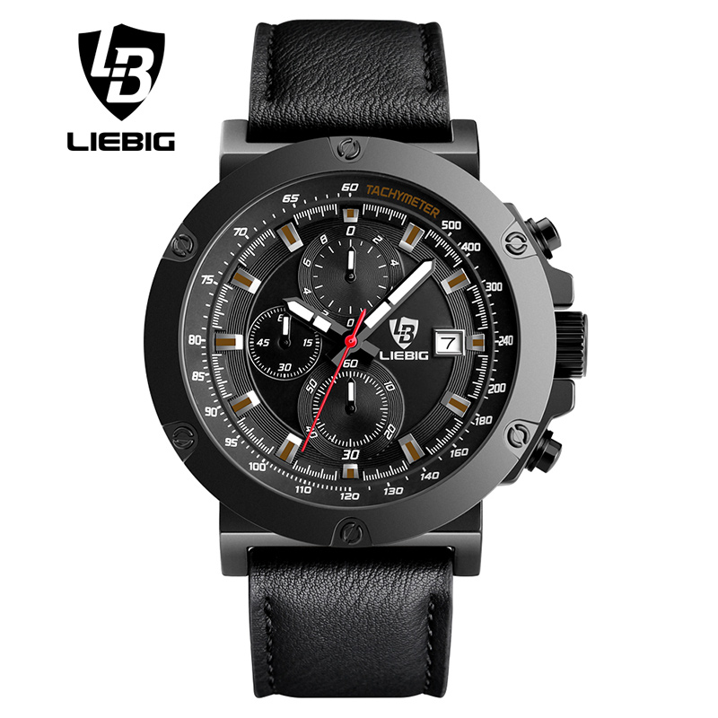 LIEBIG Men Luxury Top Brand Watches Fashion Men's  Big Dial Designer Quartz Watch Male Wristwatch relogio masculino relojes 1018 new 2017 men watches luxury top brand skmei fashion men big dial leather quartz watch male clock wristwatch relogio masculino
