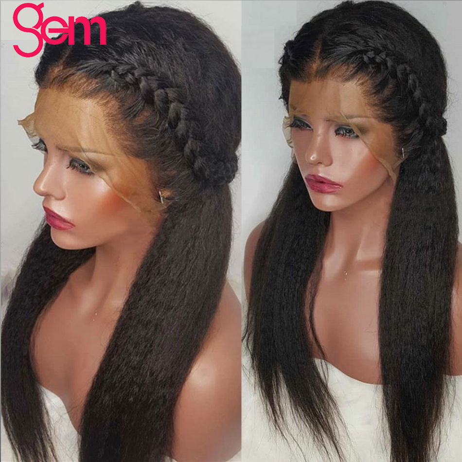 Kinky Straight Wig 13x4 Lace Front Human Hair Wig Pre Plucked With Baby Hair GEM Lace