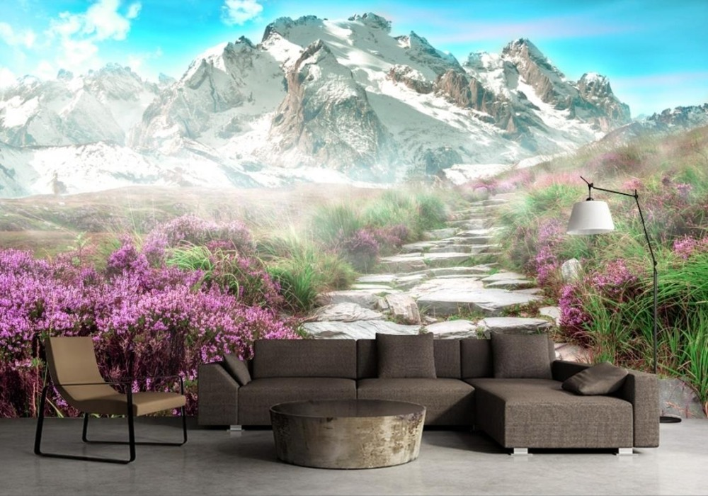 3d background landscape mountain european wallpapers living wall snow mural stereoscopic resolution widescreen zoom kf improvement dhgate