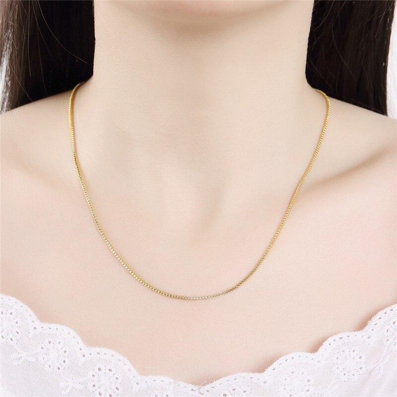 Новая мода 1,4 мм серебро/золото цвет Женская и мужская коробка ожерелье цепь высокое качество ювелирные изделия