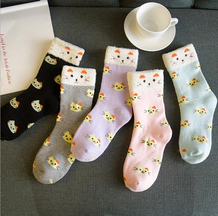Cute cat cartoon fuzzy color cotton middle tube socks warm soft wholesale socks females socks mix 5pairs/lot Free Shipping