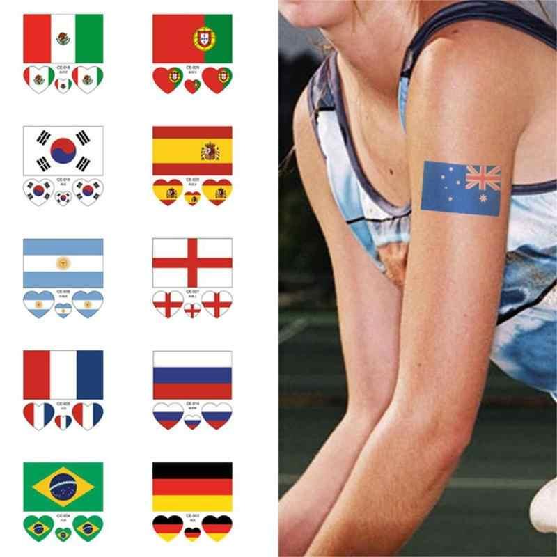 Autocollants de l'équipe de pays imperméable autocollants de Football drapeau autocollants de tatouage sur le bras de visage combinaison aléatoire Sticke de tatouage temporaire