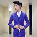 The spring of 2016 male blue suit leisure squares three-piece suit