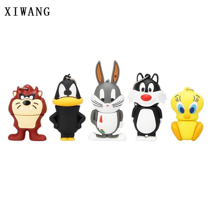Cartoon Cat/Duck/Lion/Rabbit/Crow Animal Series USB 2.0 Flash Drive 128GB 8GB 16GB Pen Drive 32GB 64GB Pendrive Usb Memory Stick